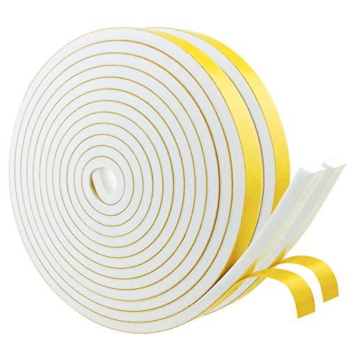 Cinta adhesiva de espuma autoadhesiva blanca 12 mm (ancho) x 6 mm (profundidad), cinta aislante para puertas y ventanas, anticolisión, insonorización, (4 m de largo x 2 rollos)