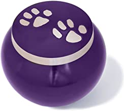 Best Friend Services Dog and Cat Pet Cremation Urn, The Mia Series in Deep Purple Color Finish and Hand Carved Pewter Paws, Medium Size to Memorialize Pets up to 40lbs