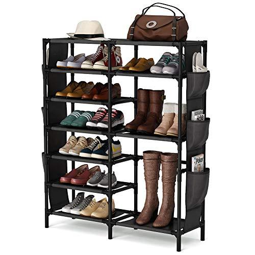 7 Tiers Shoe Rack 24-30 Pairs Shoe Storage Organizer Non-woven Shoe Shelf Boots Organizer