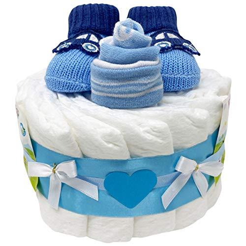 Kleine Windeltorte Booties Boy in blau für Jungen. Geschenk zur Geburt, Taufe oder Babyparty. Geschenkfertig in Celophan verpackt.