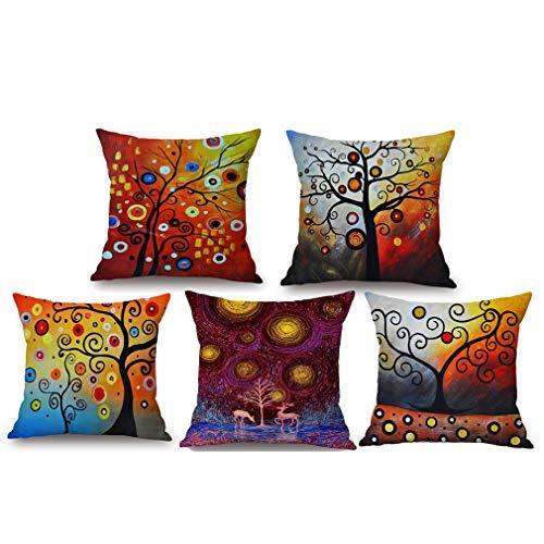Pevfeciy Cushion Cover Cotton And Linen Pillowcase Square House Sofa Cover 45 X 45 Cm,5 pcs