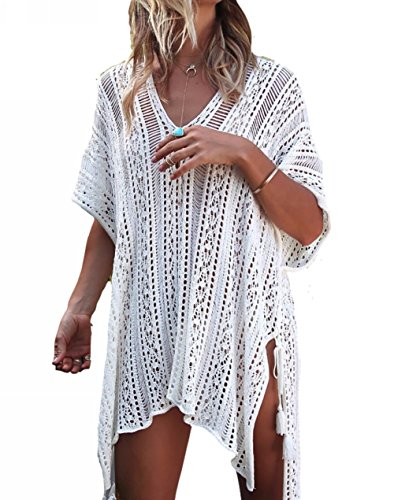 Beskie Bathing Suit Cover Up Bikini Swimsuit Crochet Beachwear Swimwear Dress, White, One Size