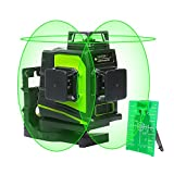 Huepar 3D Green Beam Self-Leveling Laser Level 3x360 Cross Line Three-Plane Leveling and Alignment Laser Level...