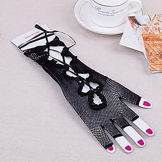 SGJFZD 12 Pair Women Fishnet Lace Up Fingerless Long Gloves Black 10 Inch Sexy Gloves (Color : Black)