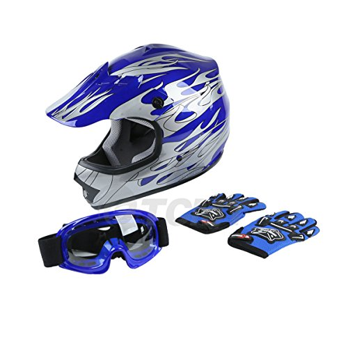 TCMT DOT Certified Youth Blue Flame Dirt Bike ATV MX Motocross Offroad Street Motorcycle Helmet Goggles Gloves (XL)