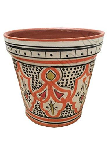 Saharashop Marokkanischer Keramik-Blumentopf Orange 15 cm