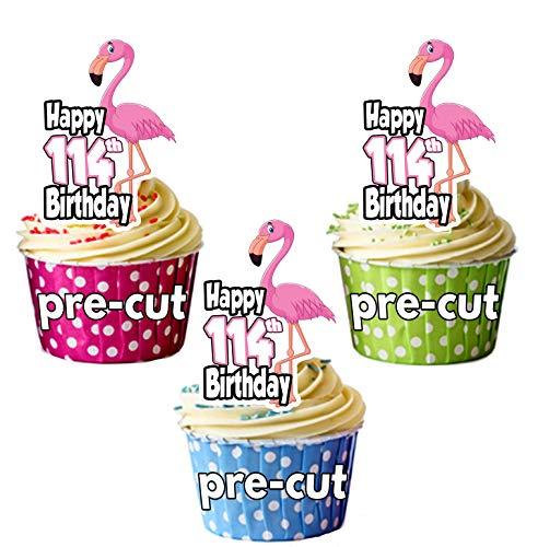 PRECUT Roze Flamingo - 114e Verjaardag - Eetbare Cupcake Toppers/Cake Decoraties (Pak van 12)