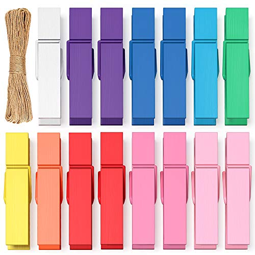 Mini Clothespins Clothes Pins Colored - Small Clothespins for Crafts Photos Wooden Paper Picture Clips Colorful Tiny Decorative Little Clothes Pins for Hanging Pictures Baby Clothes Line Clip - 100PCS