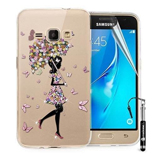 Madcase Samsung Galaxy J1 Diamante Crystal Design Case Clear Ultra Thin Transparant Zachte Siliconen TPU Gel Cover - Paraplu Meisje