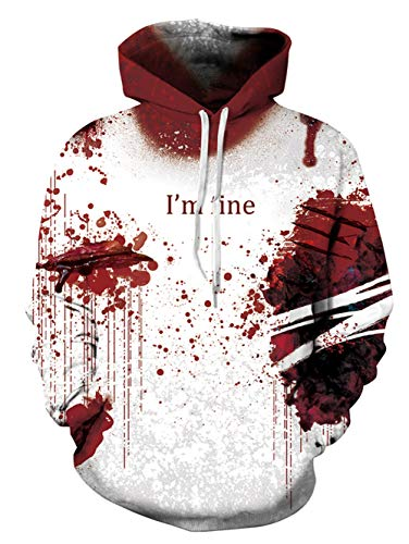 uideazone Unisex Halloween Hoodie Pullover Langarm Sweatshirt Sport Outwear Hoody Casual Tops mit Tasche für Herren Damen