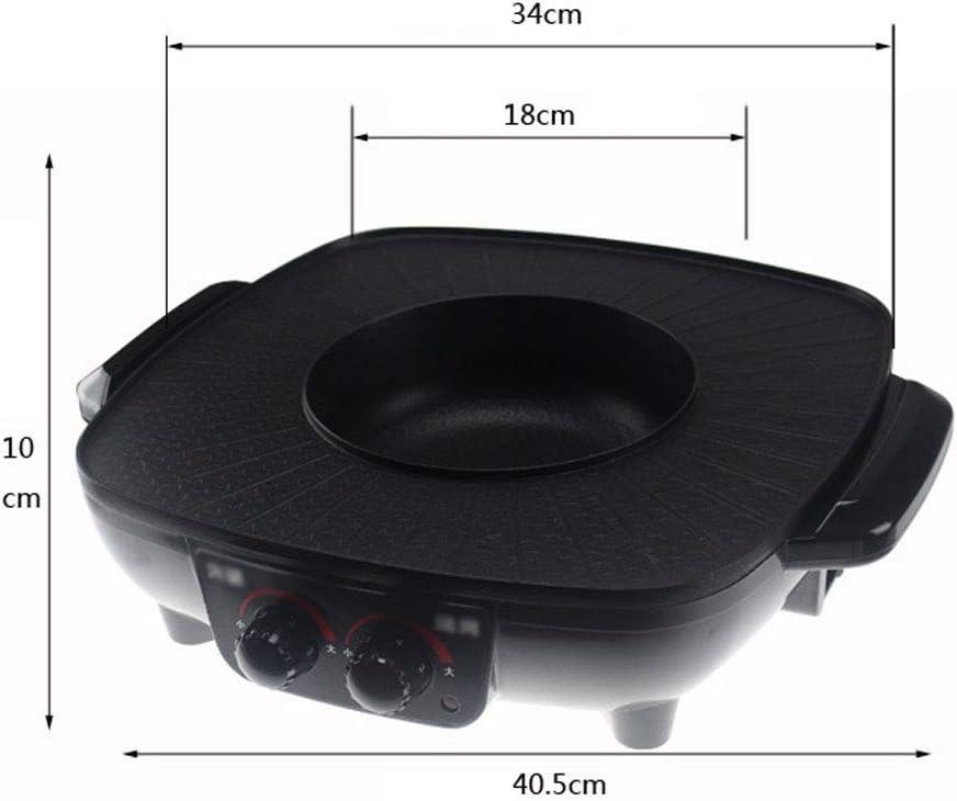 Électrique Hot Pot électrique Grill Pan Pot électrique Un double contrôle Roast multi-fonction Cuisinière électrique Four Poêle électrique 1500W, Rouge genneric (Color : Noir) Gold