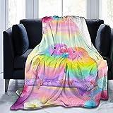 XCNGG Mantas de Cama Mantas de Siesta Mantas de Aire Acondicionado Coorful Oil Animal Abstract Parrot Dreamy Bubble Thin Lap Blanket Cozy Blanket No Shedding Flannel Throw Blanket Couch Throw Blanket