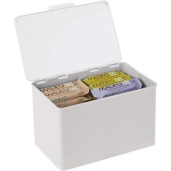 mDesign Caja con tapa para la cocina, la despensa o el despacho – Cajones de plástico sin