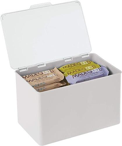mDesign boite de rangement avec couvercle pour la cuisine, le garde-manger ou le bureau – bac en plastique sans BPA –...