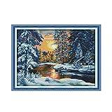 L.TSA Hermoso Kit de Punto de Cruz de Nieve, Bosque Sunset Snow DIY Tela Hecha a Mano Tela Cruz Bordado Costura Pintura Decorativa