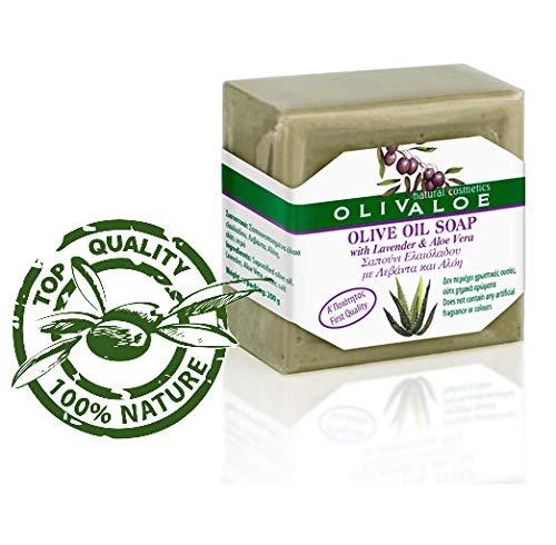 OLIVALOE 00199 - Handmade Traditional Olive Oil Soap with ALOE VERA & Lavender- Oliven Öl Seife 200g