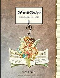 Cahier de Musique INSPIRATION & COMPOSITION Papier Crème: Grand Format   100 Pages   Couverture petits anges. (French Edition)