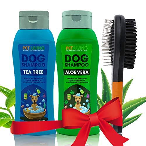 Dog Shampoo & Dog Brush | COMBO PACKAGE DEAL | 3 in 1 Dog Grooming Kit | Aloe Vera and Tea Tree Shampoo Pet Hair Remover Pet Shampoo Dog Brushes for Grooming with 2 Dog Shampoos (Mix Combo (Orange))