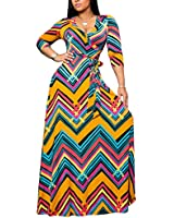 Women's Sexy Floral Long Maxi Party Dresses Formal Stripe Loose Outfit with Belt
