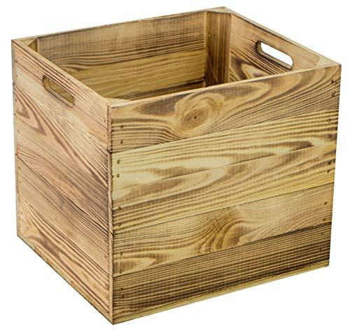4er Set Holzkiste Aufbewahrungskiste passend für alle Kallaxregale und Expidit Regale Kallaxysteme Weinkiste Obstkiste Regalkiste Maße 33x37,5x32,5cm Kallaxkiste Einsatz (4er set geflammt)