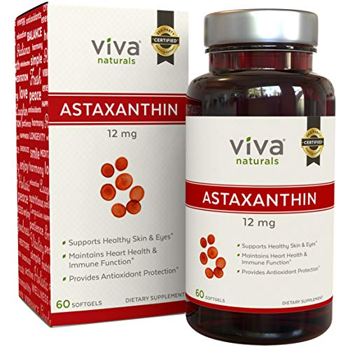Astaxanthin 12mg - Daily Antioxidant Protection, Maintains Skin Hydration & Firmness, Supports Heart & Immune Function, 60 Softgels
