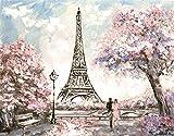 Torre Eiffel Kit de Pintura al óleo DIY, Pintar por números para niños y Adultos,40x50cmPintura sin Marco
