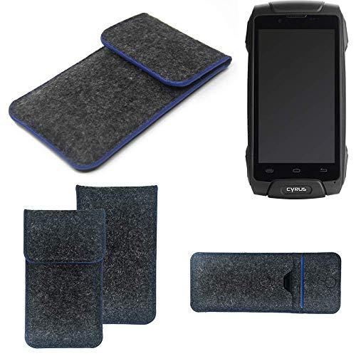 K-S-Trade® Handy Schutz Hülle Für Cyrus CS 30 Schutzhülle Handyhülle Filztasche Pouch Tasche Case Sleeve Filzhülle Dunkelgrau, Blauer Rand