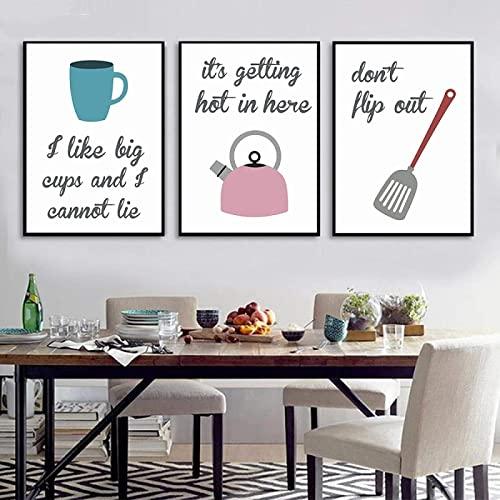 Impresiones de pared 3 piezas de 40x60 cm sin marco carteles de utensilios de cocina de dibujos animados y tazas impresas hervidor de agua batidor espátula restaurante arte de la pared imágenes