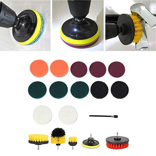 Juego de accesorios de cepillo para taladro, cepillo eléctrico de nailon 18 piezas para tapicería limpia para bañera limpia