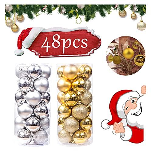 Sfere per Albero di Natale Set 48 pezzi Palline Albero di Natale Plastica Palle e Palline per l'albero Palla di Natale Ornamenti Palle di Natale Bagattelle Palla per Decorare L'Albero di Natale