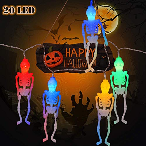 AODINI Halloween String Lights, 13Ft 20LEDs Skeleton Halloween Lights for Halloween Decor - 2 Lighting Modes Battery-Powered, Spooky Halloween Decoration for Party Patio Indoor Outdoor