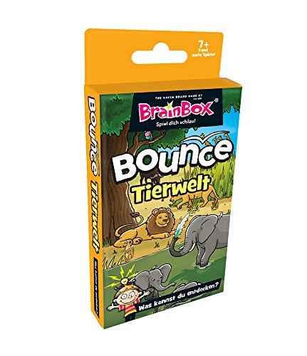 Brain Box 94988 (D) BrainBox Bounce-Tierwelt Quartettspiel, Fragespiel, Quiz für Kinder, Lernspiel ab 7 Jahren, Mehrfarbig