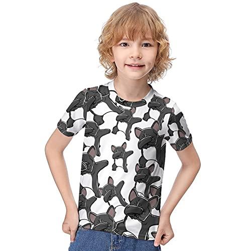 WEEDKEYCAT Dabbing French Bulldog Boy's T-Shirt Short Sleeve Girl's Tee Shirts Top Classic Loose Round Neck