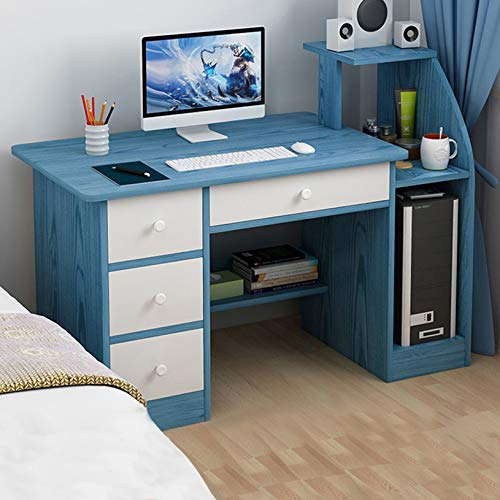 SHUDAGE Computer Desk Home Office Desks with Shelf, Student Study Desktop Desk Laptop Table Modern PC Workstation Dormitory Study Desk with 4 Bottom Storage Shelves and 4 Drawer (blue)