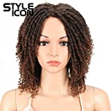 Style Icon 6' Short Dreadlock Wig Twist Wigs for Black Women Short Curly Synthetic Wigs (6', T1B/30)