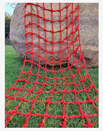 Kletternetz Schaukel,Seilnetz Netz Seil Klettern Strickleiter Kletternetz Schaukel Kinder Erwachsene Klettergerüst Spielplatz Baumhaus Rope Cargonetz Climbing Cargo Netting Outdoor,Draußen,Rot,14mm
