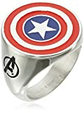 Marvel Comics Men's Stainless Steel Enamel Captain America Ring, Size 9