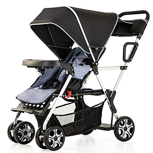 Lowest Prices! MQQ Double Baby Stroller Tandem Collapsible Stroller All Terrain Pushchair for Toddle...