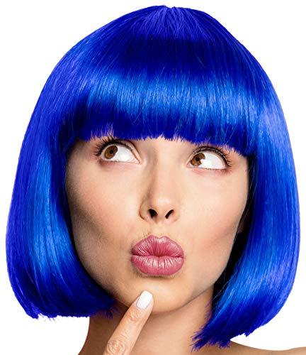 Bob Perücke Wig Cabaret Pagenkopf Pagen Charleston Perücken für Karneval / Fasching & Motto Party - 13 Farben (Blau)