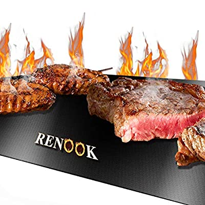 RENOOK Grill Mat, Heavy Duty 600 Degree Non Stick BBQ Mats, Easy to Clean & Reusable, Gas Charcoal Electric Griling Accessories, Best for Outdoor Barbecue Baking and Oven Liner, Set of 2, 20 x16-Inch