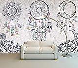 Papel Pintado Pared 3D Papel Tapiz Vintage Line Drawing Flor Pluma Atrapasueños Salón Dormitorio Fotomural Decoración Murales