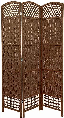 Paravent aus Korbgeflecht - 5 Farben wählbar - Spanische Wand Raumteiler (Dunkelbraun)