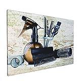 Impresiones de arte de pared,Vintage Barber Shop Hair Salon Tools Set Gran, Pintura moderna enmarcada óleo sobre lienzo para sala de estar dormitorio principal Decoración 18x12 pulgadas
