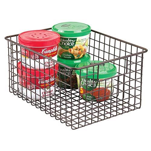 mDesign Farmhouse Decor Metal Wire Food Storage Organizer Bin Basket with Handles - for Kitchen Cabinets, Pantry, Bathroom, Laundry Room, Closets, Garage - 12 x 9 x 6 - Bronze