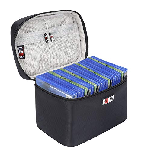 BUBM Portable Game disc Carrying Storage bag for PS4/ PS4 PRO/Xbox One Game Disc (Black,Hold Up to 15 Discs)
