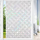 QHYsunshine Window Film Privacy Stained Glass Window Film Frosted Glue-Free electrostatic adsorption Suitable for Living Room Bathroom Office Reusable Decorative Window Film 17.5 x 78.7 in