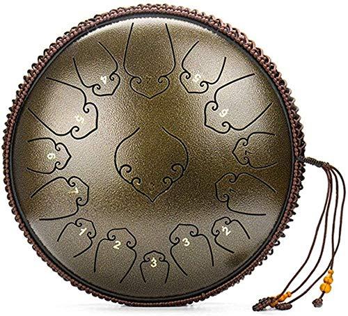 Meditación de yoga Tambor de acero de la lengüeta de acero Tambor de la lengua - tambor de mano 14 pulgadas 15 notas, con bolsa de almacenamiento Música de música Maleta y titular de instrumento de pe