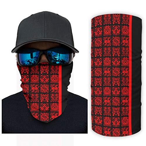 Fugift Schwarz-rote Tattoo-Halstuch/Sturmhaube, Kopfband, Bandana, Sport & Outdoor, Kopfbedeckung, Einheitsgröße, für Camping, Wandern
