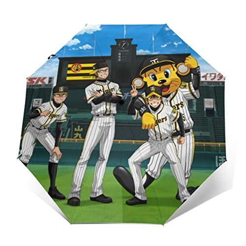 阪神タイガース 三つ折り傘 8骨無地三つ折り傘 ボタンスイッチ 防水耐久性のある高品質 防風ユニセックス日焼け防止傘自動スイッチ折りたたみ傘を運ぶのは 試合を見る ショーを見る Outer Print