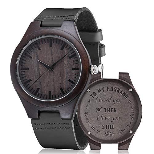 shifenmei S5520 - Reloj de madera con grabado personalizado para hombres y mujeres, marido, esposa, padrino, cumpleaños, boda, aniversario, graduación, Navidad